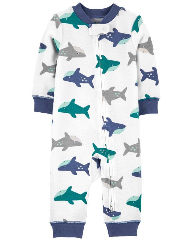 CARTER'S Overal bez nožičiek zips Sleep and Play Shark chlapec 3 m, vel. 62