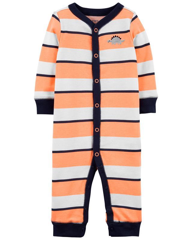 CARTER'S Overal bez nožičiek na cvoky Sleep and Play Orange Stripes chlapec 6 m, vel. 68