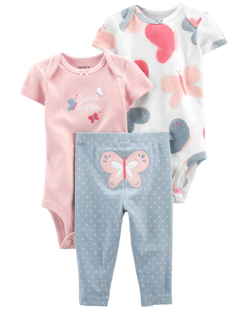 CARTER'S Set 3dielny body kr. rukáv 2ks, nohavice Pink Butterfly dievča LBB 3m