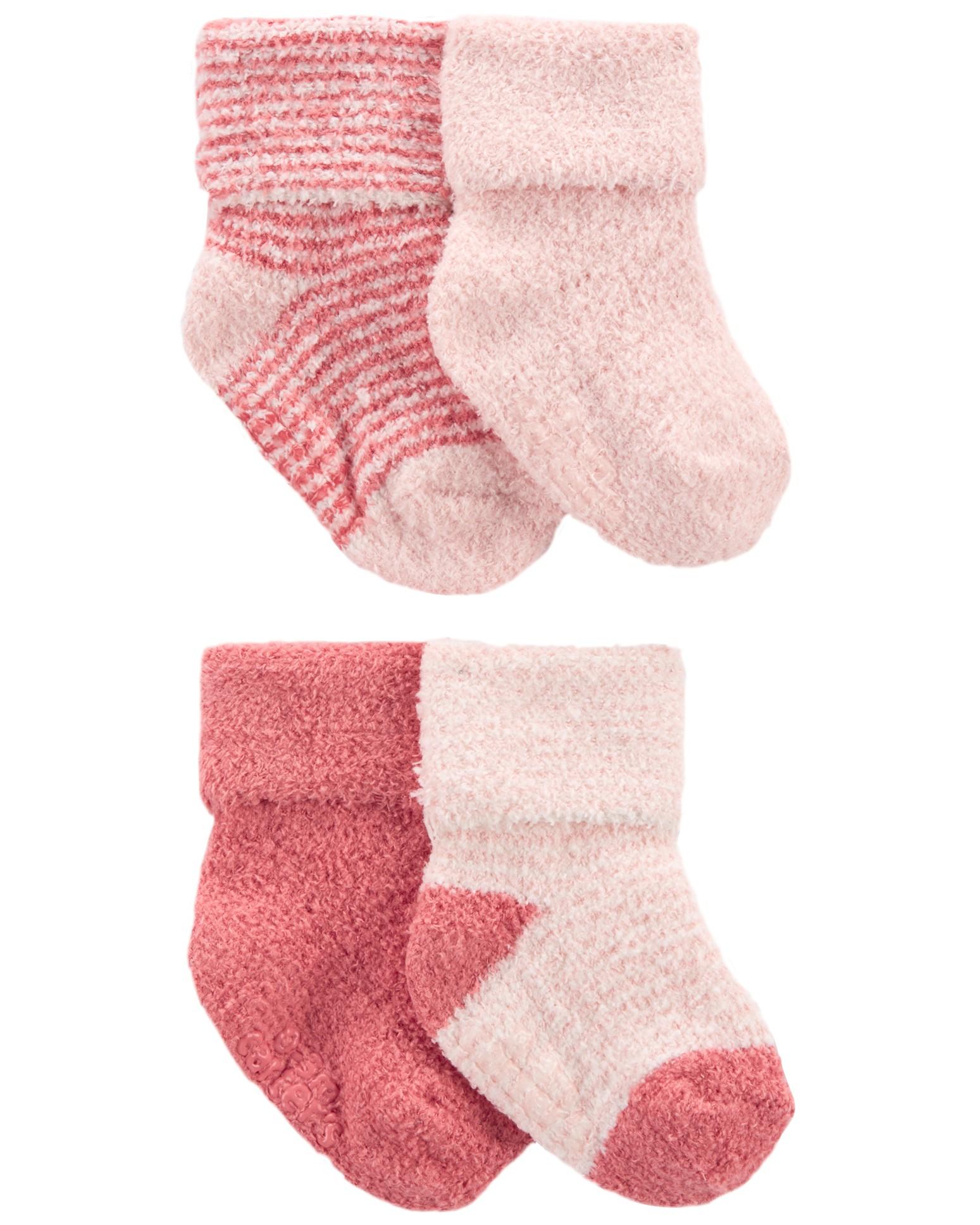 CARTER'S Ponožky Stripes Pink dievča LBB 4ks 0-3m