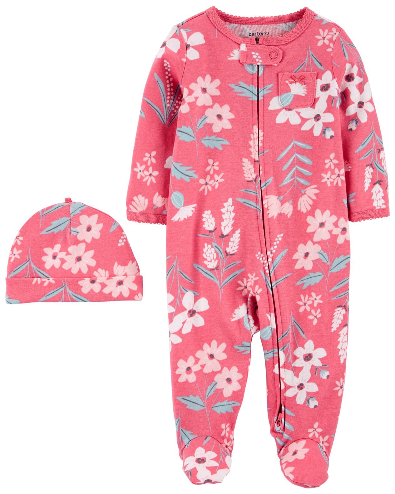 CARTER'S Set 2dielny overal na zips Sleep&Plays, čiapka Flowers dievča LBB 3m, veľ. 62
