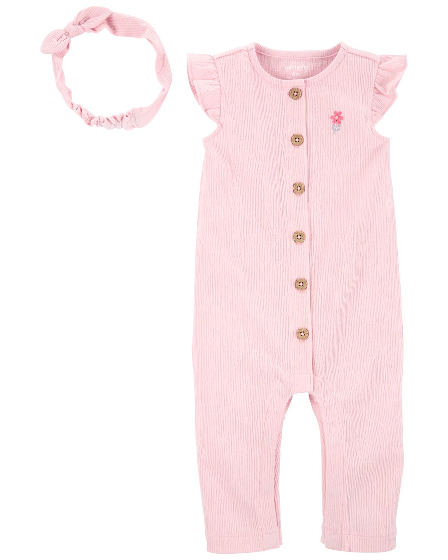 CARTER'S Set 2dielny overal na zips bez rukávov, čelenka Pink dievča LBB 12m, veľ. 80