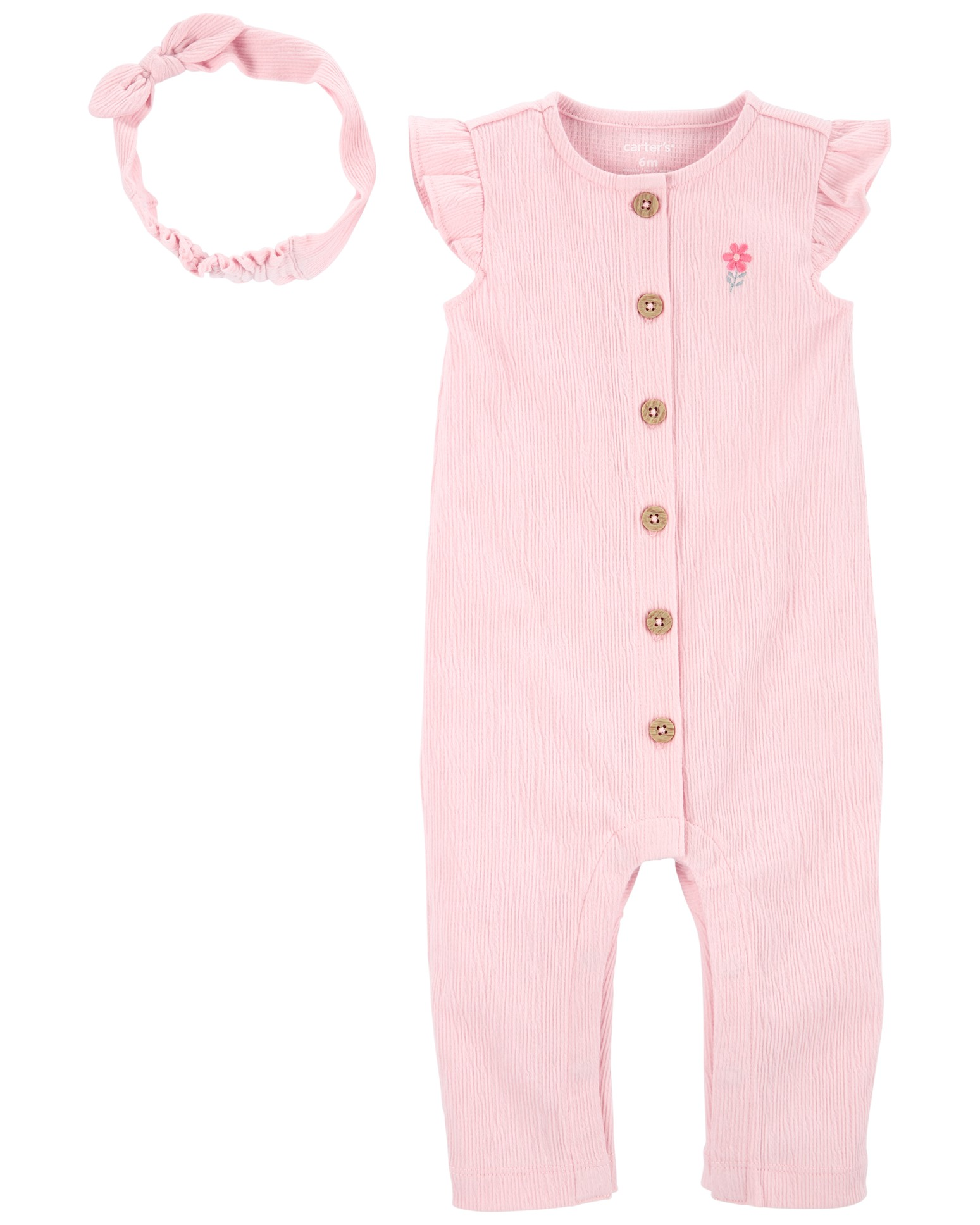 CARTER'S Set 2dielny overal na zips bez rukávov, čelenka Pink dievča LBB 3m, veľ. 62