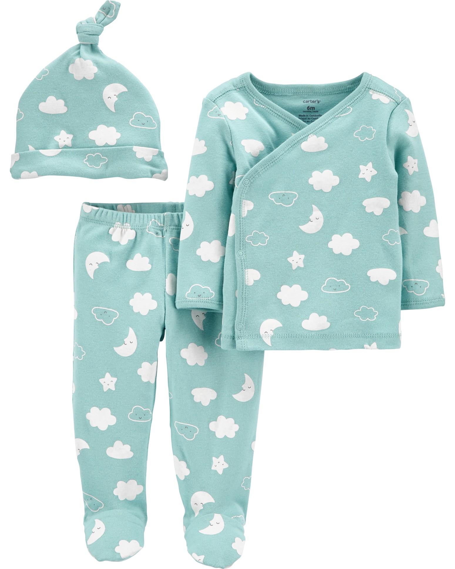 CARTER'S Set 3dielny polodupačky, tričko dl. rukáv zavinovacie, čiapka Blue Clouds neutrál LBB PRE,