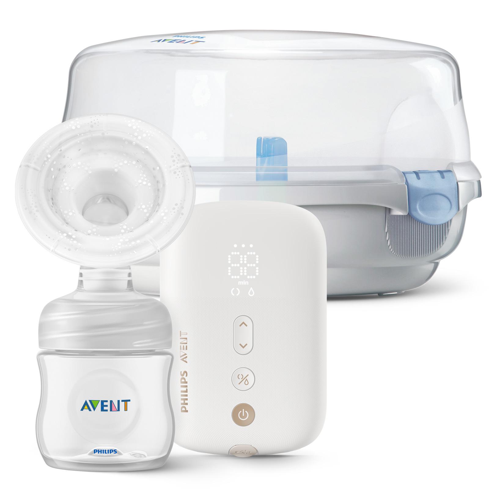 Philips AVENT Odsávačka mateřského mléka elektronická Premium dobíjecí SCF396 + Sterilizator do MW