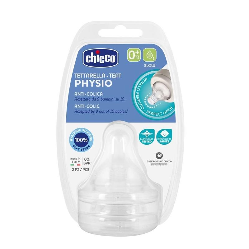 CHICCO Cumlík na fľašu Perfect 5/Well-Being fyziologický pomalý prietok 2 ks, 6m+