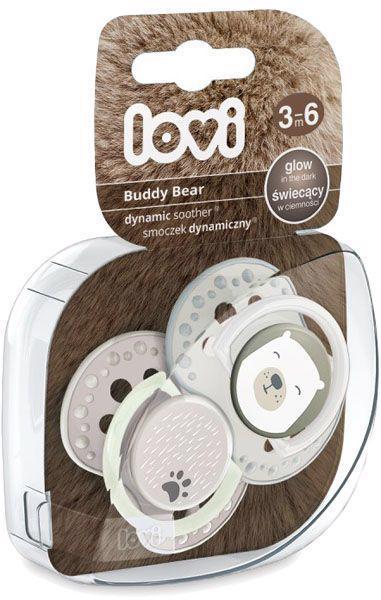LOVI Silikónový cumlík dynamický Buddy Bear 3-6m 2 ks