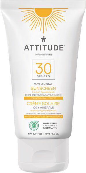 ATTITUDE 100% minerálny opaľovací krém (SPF 30) s vôňou Tropical 150 g