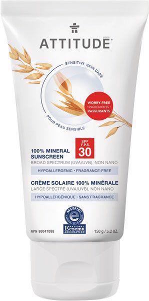 ATTITUDE 100% minerálny opaľovací krém (SPF 30) pre suchú a atopickú pokožku bez vône 150 g