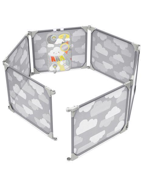 Ohrádka / zábrana s hracím panelem 2v1 rozšiřitelná grey 6m+