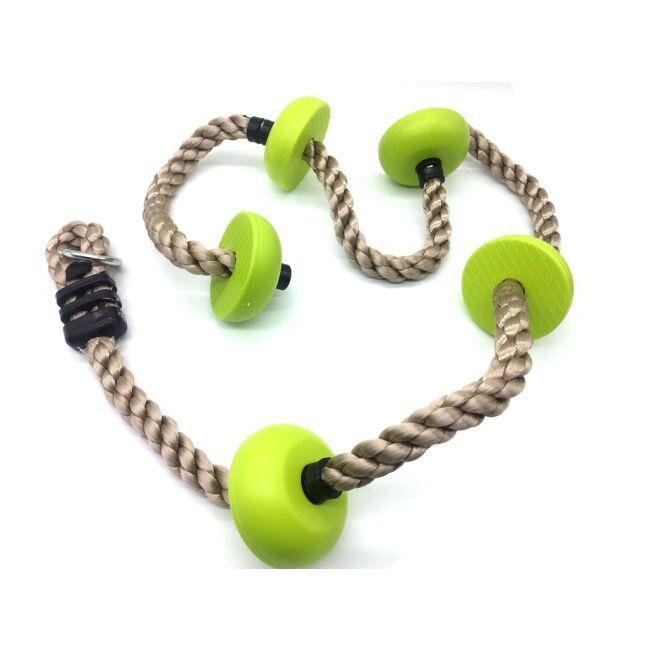 DVĚ DĚTI Detské šplhacie lano s diskami zelené