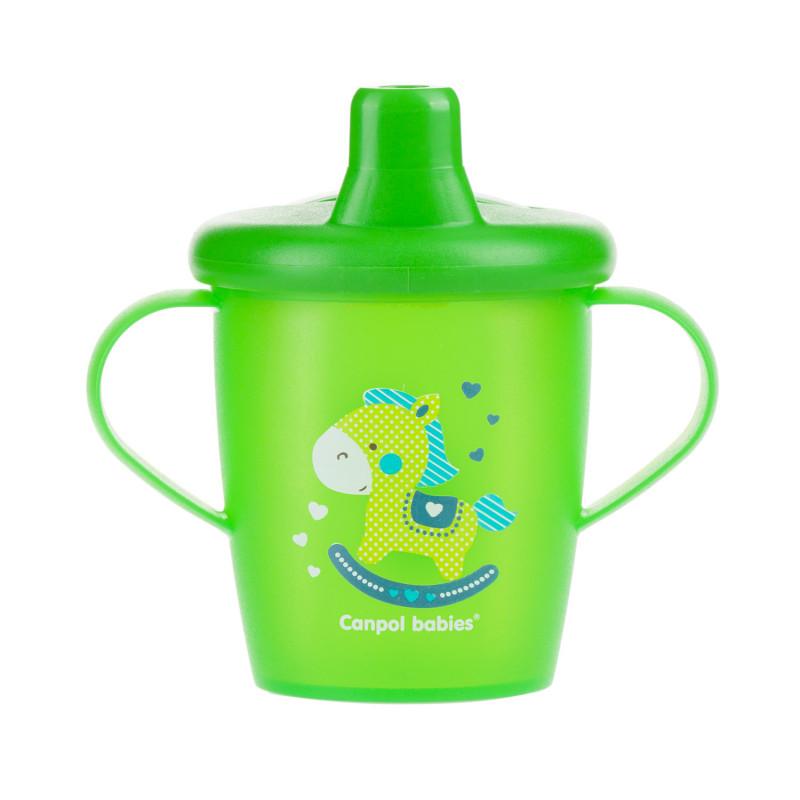 CANPOL BABIES Hrnček nevylievací TOYS 250ml - zelený