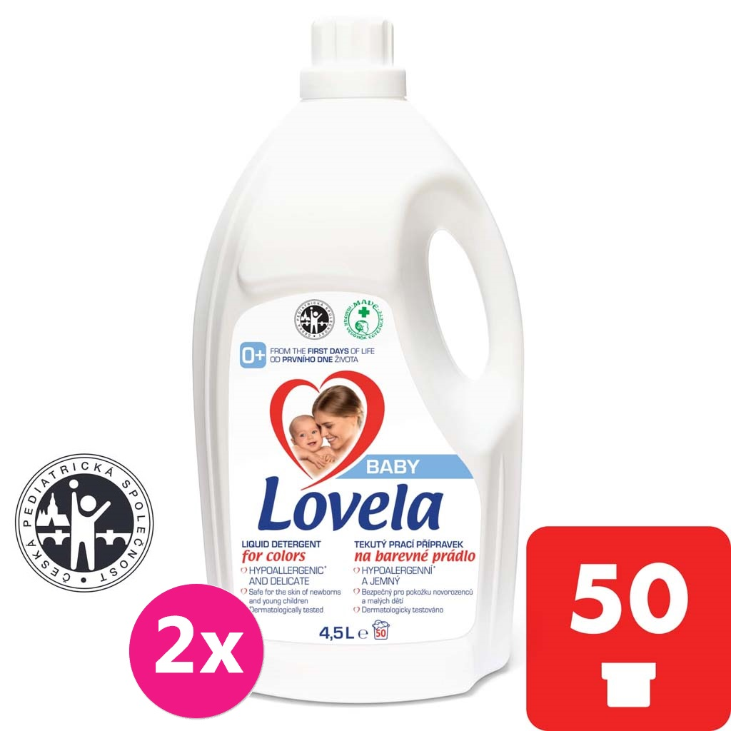 2x LOVELA Baby tekutý prací prípravok na farebnú bielizeň 4,5 l / 50 pracích dávok