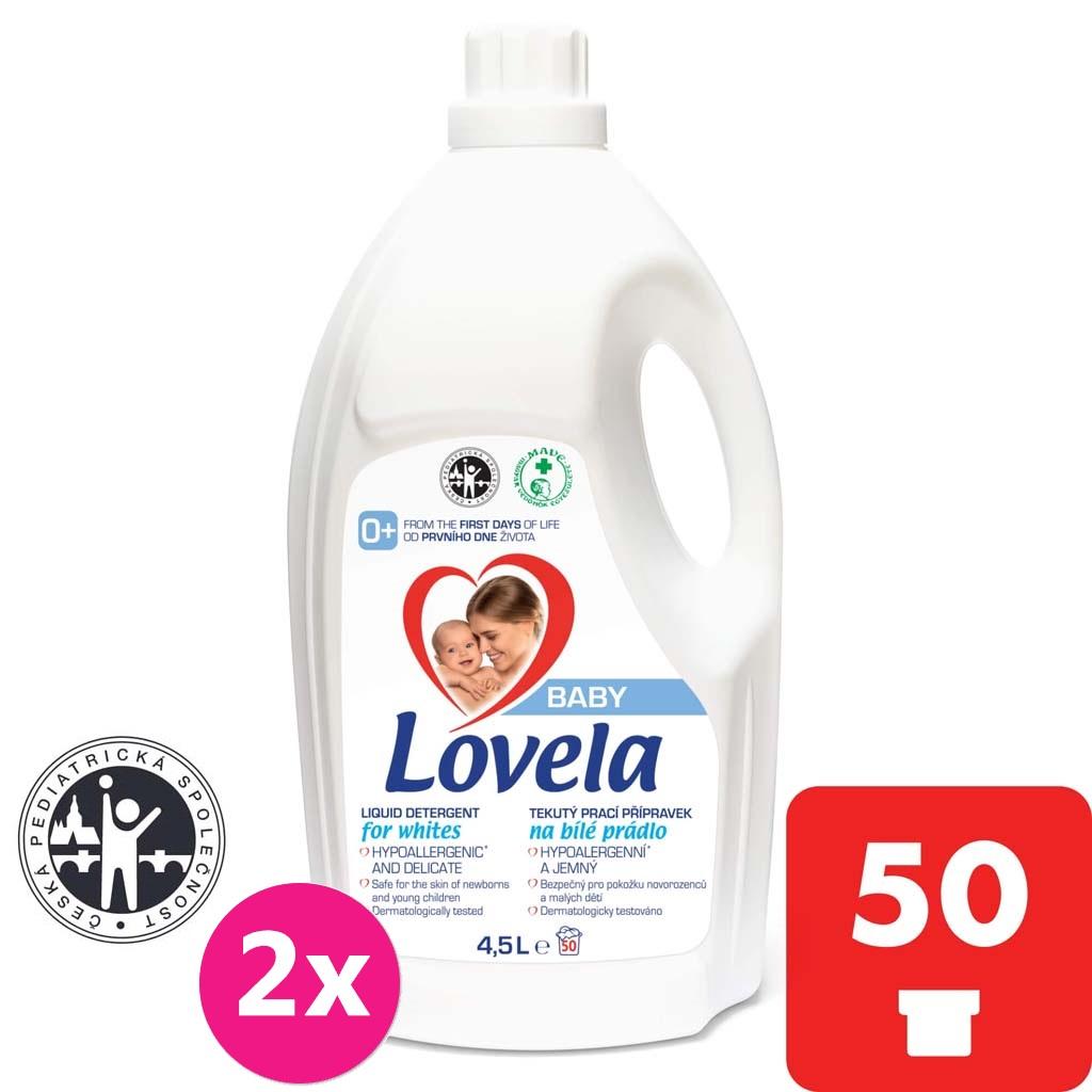2x LOVELA Baby tekutý prací prípravok na bielu bielizeň 4,5 l / 50 pracích dávok