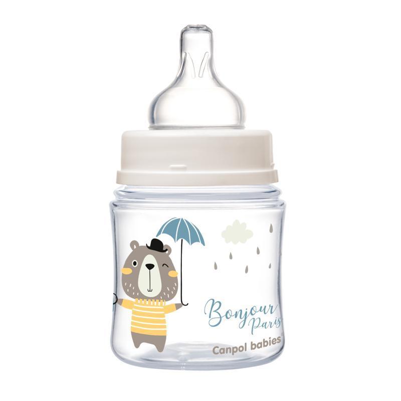 CANPOL BABIES Fľaša so širokým hrdlom Bonjour Paris 120 ml modrá