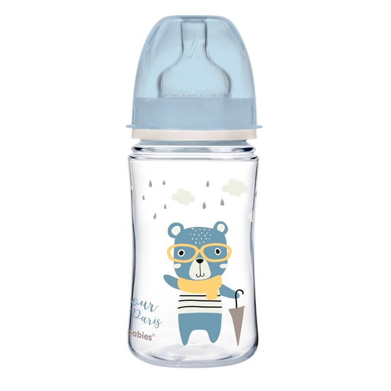 CANPOL BABIES Fľaša so širokým hrdlom Bonjour Paris 240 ml modrá