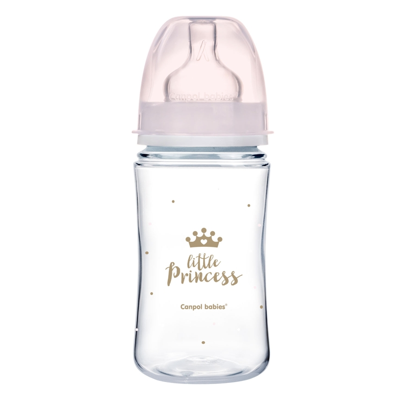 CANPOL BABIES Fľaša so širokým hrdlom Royal Baby 240 ml ružová