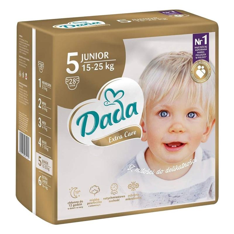 DADA Jednorázové plienky Extra Care Junior veľ.  5 (15 - 25 kg), 28 ks