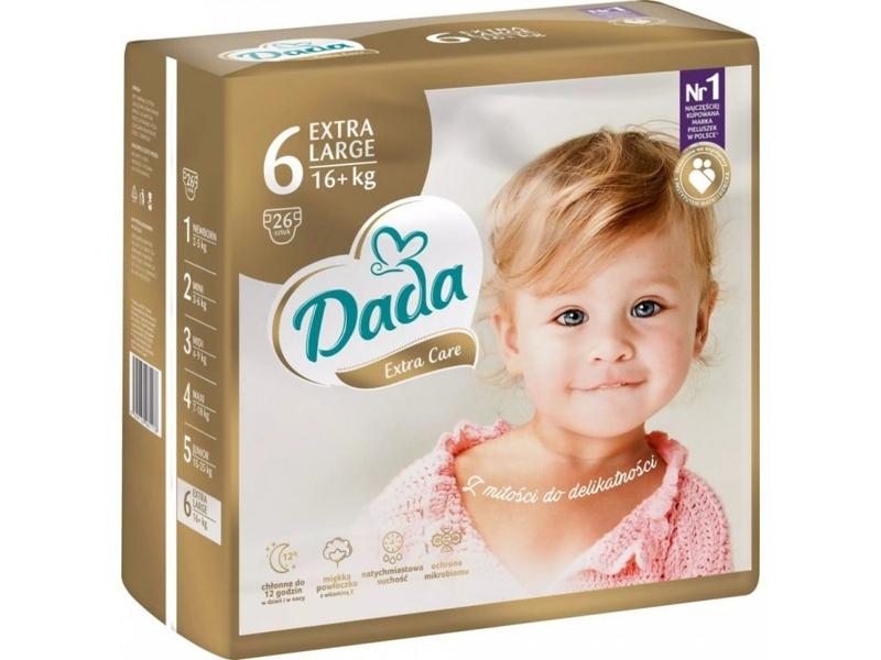 DADA Jednorázové plienky Extra Care XL veľ. 6 (16+ kg), 26 ks