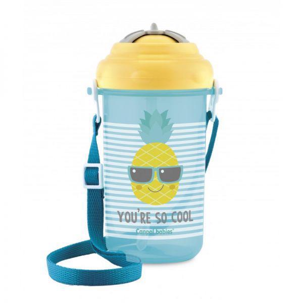 CANPOL BABIES Fľaša športová so slamkou a vrchnákom 400ml 12m+ So Cool! žltá