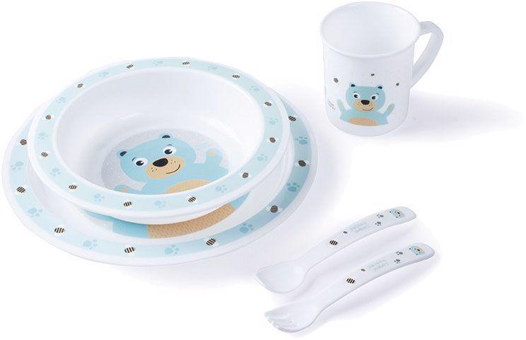 CANPOL BABIES Súprava plastová s príborom Cute Animals medvedík