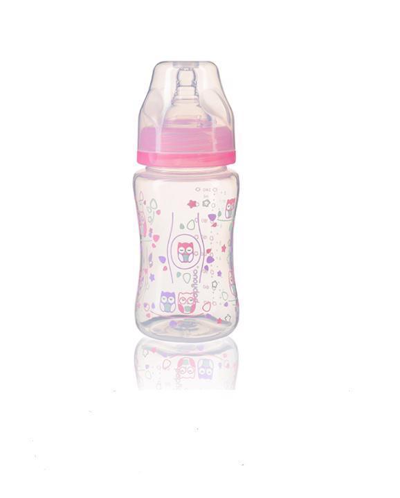 BABYONO Dojčenská antikoliková fľaša široké hrdlo 240 ml - ružová