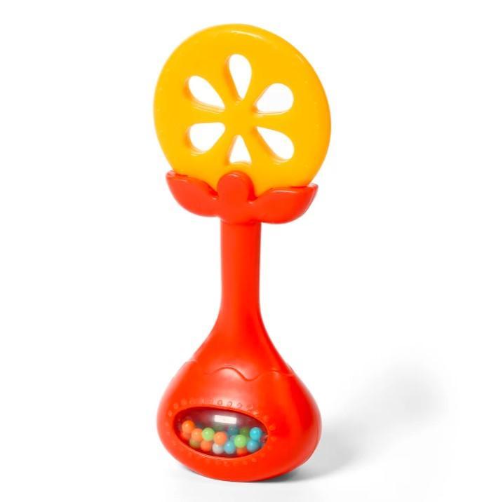BABYONO Hryzačka edukačná s hrkálkou - pomaranč