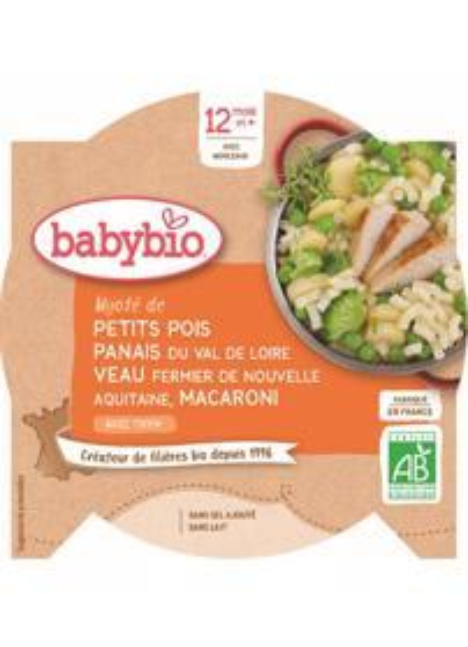 BABYBIO Hrášok s paštrnákom, teľacím mäsom a makaróny (230 g)