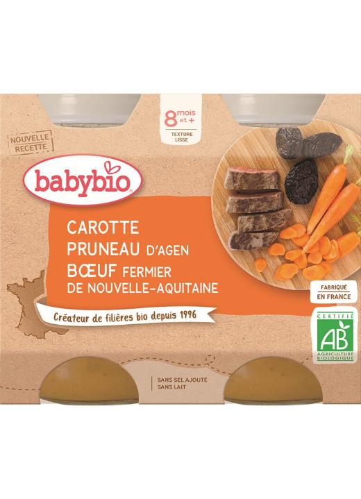 2x BABYBIO Menu mrkva a sušené slivky s hovädzím mäsom (200 g)
