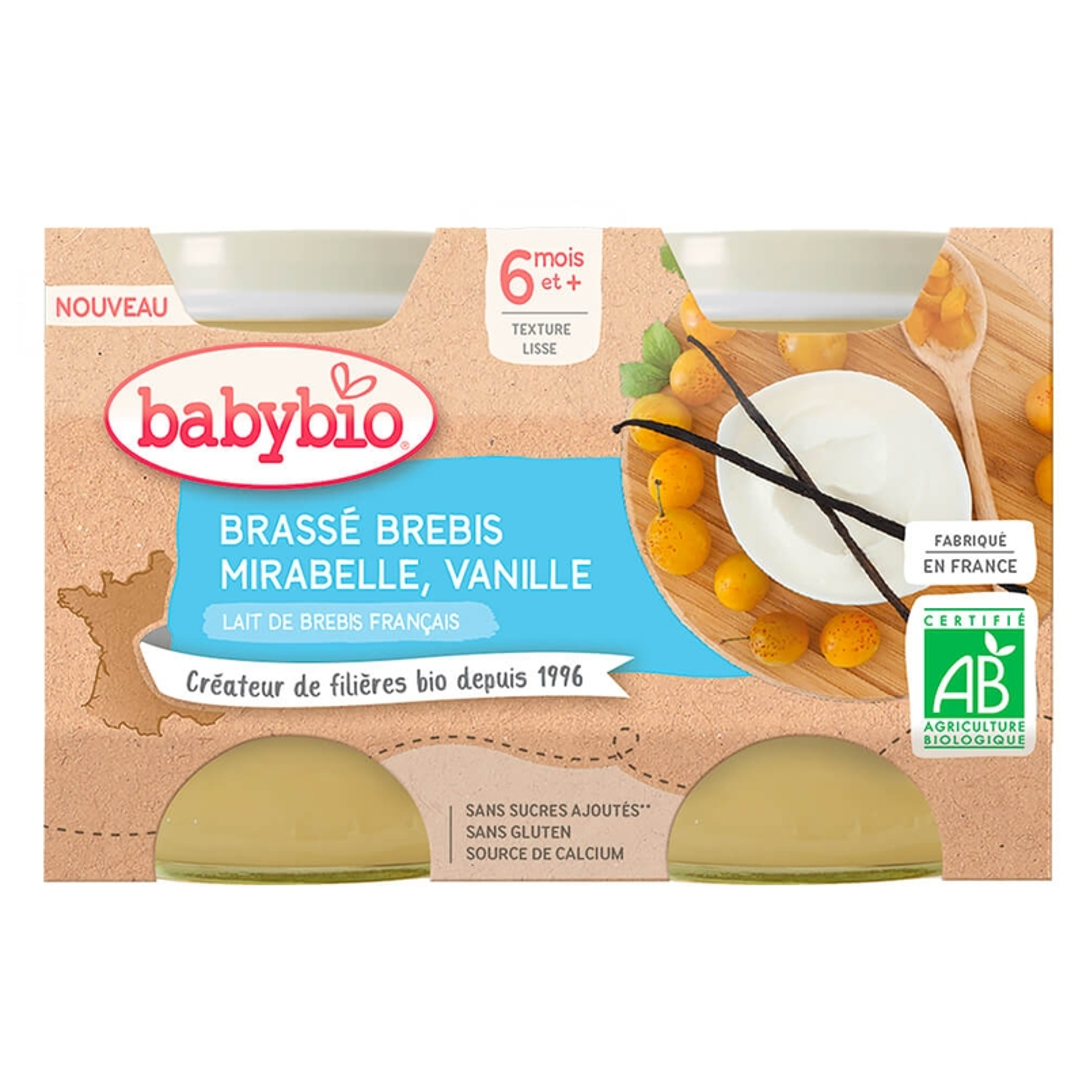 BABYBIO Brassé z ovčieho mlieka mirabelky vanilka 2x130 g