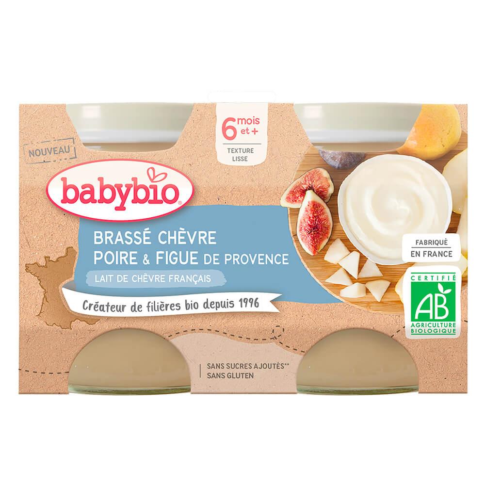 BABYBIO Brassé z kozieho mlieka hruška figa 2x130 g