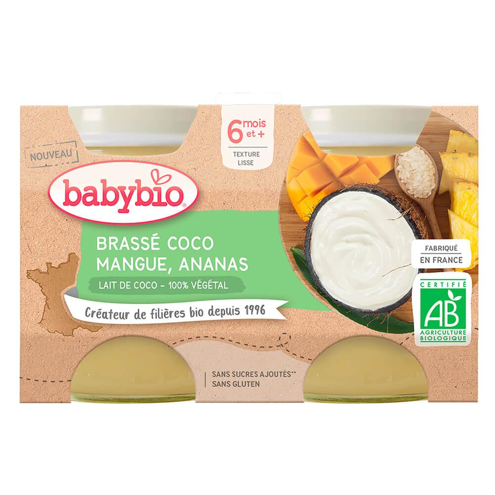 BABYBIO Brassé z kokosového mlieka mango ananás 2x130 g