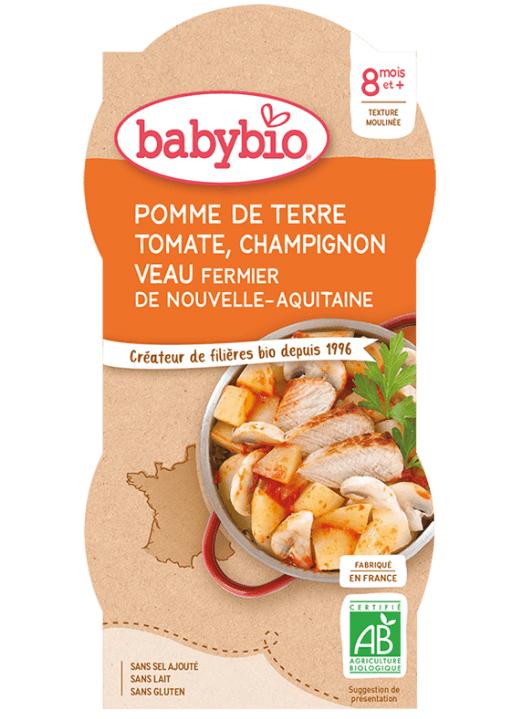 2x BABYBIO Zemiaky s paradajkovým pyré, šampiňóny a teľacím mäsom (200 g)