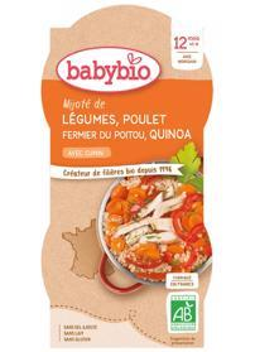 BABYBIO Menu zelenina s kuracím mäsom a quinoa (2x 200 g)