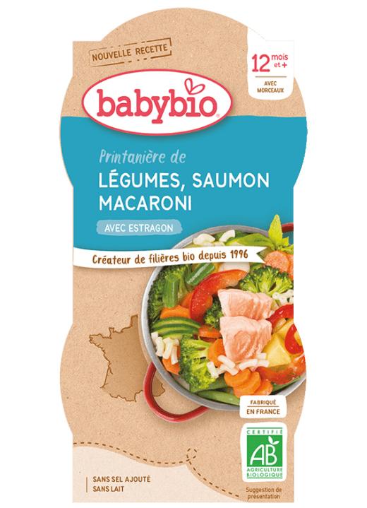 2x BABYBIO Menu jarná zelenina s lososom a makarónmi (200 g)