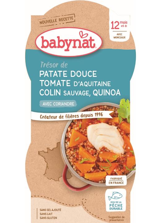 2x BABYBIO Sladké zemiaky s paradajkovým pyré, morskou šťukou a quinoa (200 g)