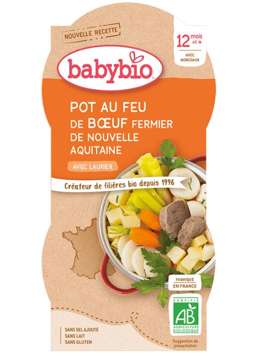 BABYBIO Menu zelenina s hovädzím mäsom (2x 200 g)