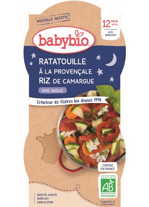 2x BABYBIO Večerné menu ratatouille po provensálsky s ryžou (200 g)
