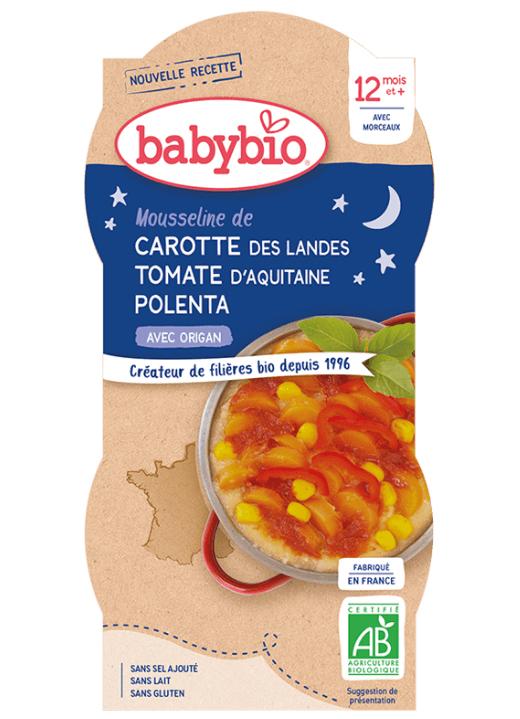 2x BABYBIO Good Night mrkva s paradajkovým pyré, sladkú kukuricou a polentou (200 g)