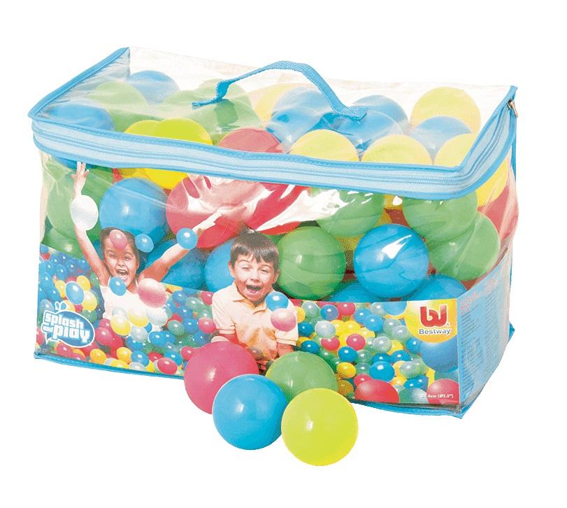 BESTWAY Loptičky farebné plastové v taške - 100 ks - priemer 6,5 cm