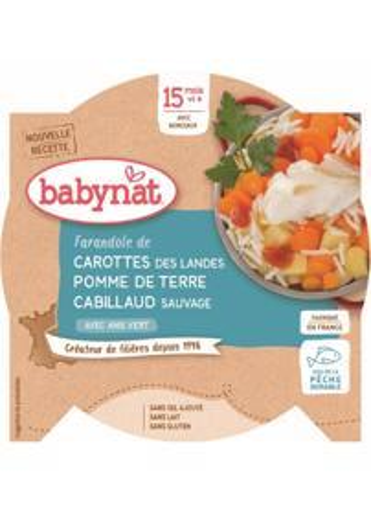 BABYBIO Menu mrkva a zemiaky s treskou (260 g)
