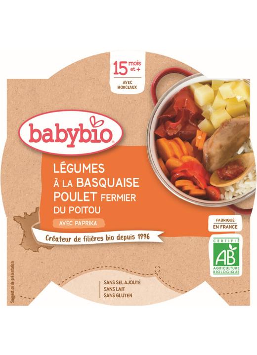 BABYBIO Menu zelenina s kuracím mäsom a ryžou (260 g)