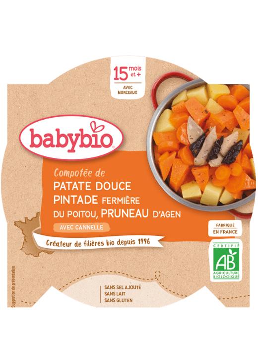 BABYBIO Menu sladké zemiaky s mäsom z perličky a sušenými slivkami (260 g)