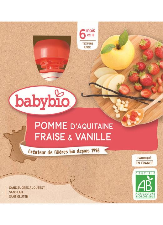 4x BABYBIO Kapsička jablko, jahoda, vanilka (90 g)