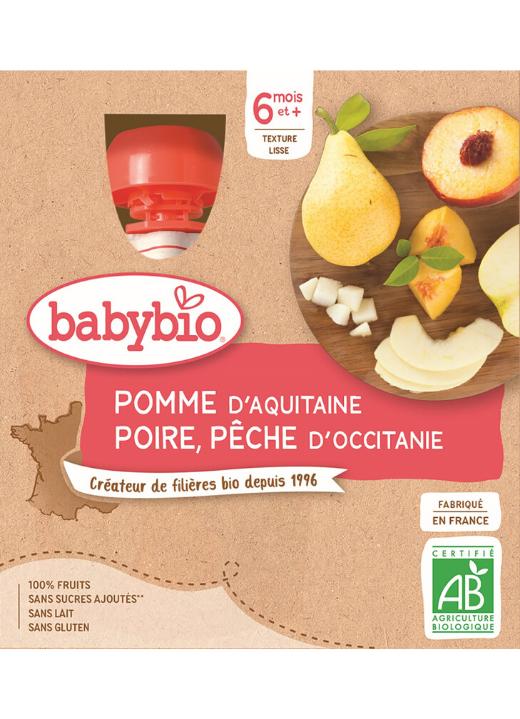BABYBIO Kapsička jablko, hruška, broskyňa (4x 90 g)