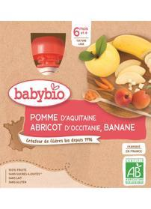 BABYBIO Kapsička jablko, marhuľa, banán (4x 90 g)