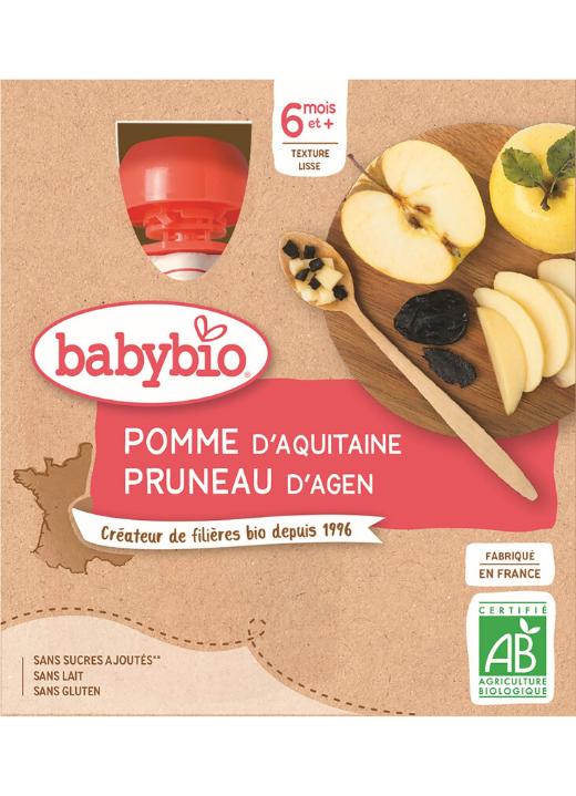 BABYBIO Kapsička jablko slivka (4x 90 g) - ovocný príkrm