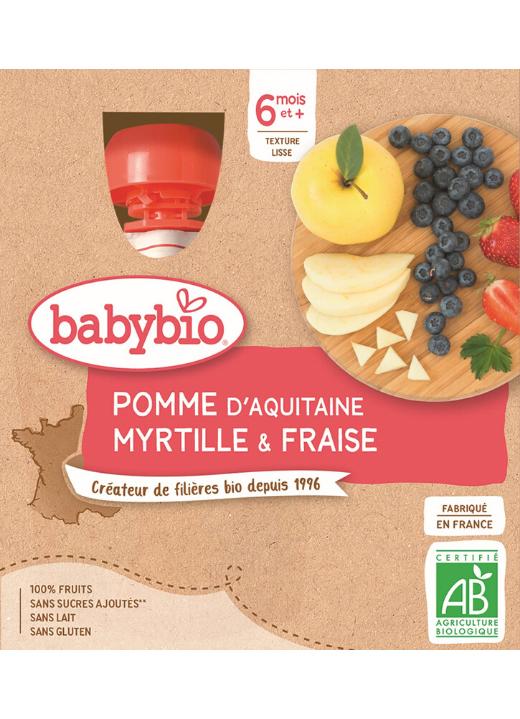 BABYBIO Kapsička jablko, čučoriedky, jahody (4x 90 g) - ovocný príkrm
