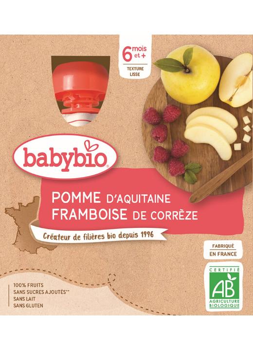 BABYBIO Jablko malina (4x 90 g) - ovocný príkrm