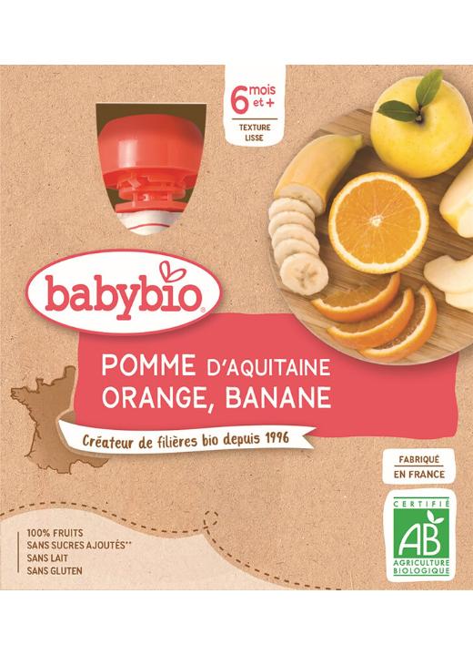 BABYBIO Jablko pomaranč banán (4x 90 g) - ovocný príkrm